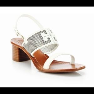 Tory Burch White Lowell Perforated Leather Sandals
